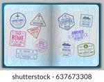 open passport for foreign... | Shutterstock .eps vector #637673308
