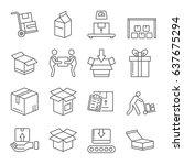 set of packaging related vector ...   Shutterstock .eps vector #637675294