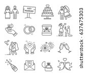 set of wedding related vector... | Shutterstock .eps vector #637675303
