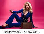pretty young blonde woman in a... | Shutterstock . vector #637679818