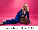 pretty young blonde woman in a... | Shutterstock . vector #637679836