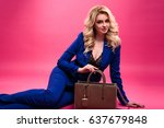 pretty young blonde woman in a... | Shutterstock . vector #637679848