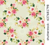 seamless floral pattern with... | Shutterstock .eps vector #637681798