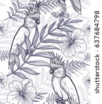 flowers and birds seamless...   Shutterstock .eps vector #637684798