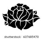 flower rose  black and white.... | Shutterstock .eps vector #637685470