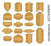big set of wooden blank... | Shutterstock .eps vector #637690894