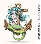 beauty blue haired siren... | Shutterstock . vector #637701340