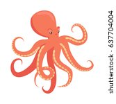 red octopus cartoon character.... | Shutterstock .eps vector #637704004