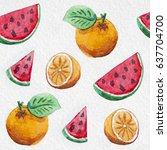 watercolor orange and... | Shutterstock . vector #637704700