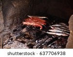 tiger prawns on skewers with... | Shutterstock . vector #637706938