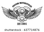 motorcycle engine and wings in... | Shutterstock . vector #637714876