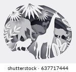 vector illustration of paper... | Shutterstock .eps vector #637717444