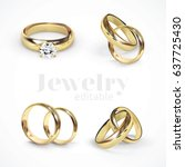 4 vector gold wedding rings | Shutterstock .eps vector #637725430