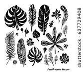 set of black trendy doodle... | Shutterstock .eps vector #637729408