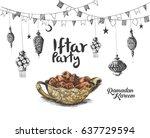 ramadan kareem iftar party... | Shutterstock .eps vector #637729594