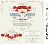 vintage frames and ribbons  | Shutterstock .eps vector #637732018