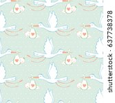 stork and baby. seamless... | Shutterstock .eps vector #637738378