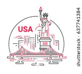 usa   modern vector line travel ... | Shutterstock .eps vector #637741384