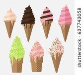set of ice cream cone flake....   Shutterstock .eps vector #637743058