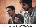 two man smoke cannabis or... | Shutterstock . vector #637743634