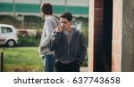 young urban friends smoke... | Shutterstock . vector #637743658