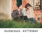 young urban friends smoke... | Shutterstock . vector #637743664