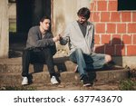 young urban friends smoke... | Shutterstock . vector #637743670