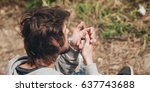 man lighting up a joint a... | Shutterstock . vector #637743688