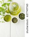 healthy green tea cup with tea... | Shutterstock . vector #637749760