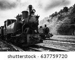 Old Steam Locomotive Black And...