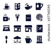 cafe icons set. set of 16 cafe...