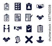 agreement icons set. set of 16... | Shutterstock .eps vector #637760338