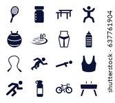 fitness icons set. set of 16... | Shutterstock .eps vector #637761904