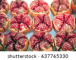 pieces and grains of ripe... | Shutterstock . vector #637765330