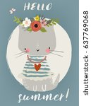 Stock vector summer cute kitten 637769068