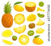 bright vector set of colorful... | Shutterstock .eps vector #637773430