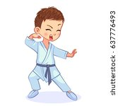 humorous karate boy in a white... | Shutterstock .eps vector #637776493