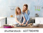 young woman and her daughter... | Shutterstock . vector #637780498
