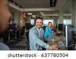 photo of a smiling dispatcher... | Shutterstock . vector #637780504