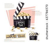 movie clapper with popcorn.... | Shutterstock .eps vector #637786570