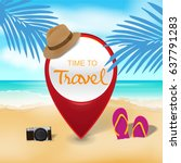 red pin on beach background ... | Shutterstock .eps vector #637791283