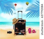 travel bag on beach background  ... | Shutterstock .eps vector #637792084