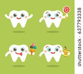 teeth flat vector smiling smile ... | Shutterstock .eps vector #637793338