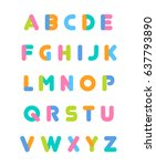 set of colorful uppercase... | Shutterstock .eps vector #637793890