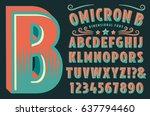 a decorative type font with 3d... | Shutterstock .eps vector #637794460