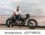 handsome rider man with a beard ... | Shutterstock . vector #637798924