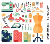 thread supplies hobby... | Shutterstock .eps vector #637800394