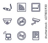 zone icons set. set of 9 zone... | Shutterstock .eps vector #637801930