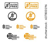 gluten free icons set. vector... | Shutterstock .eps vector #637803196