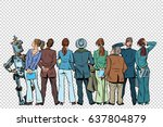 retro group of businessmen and... | Shutterstock .eps vector #637804879